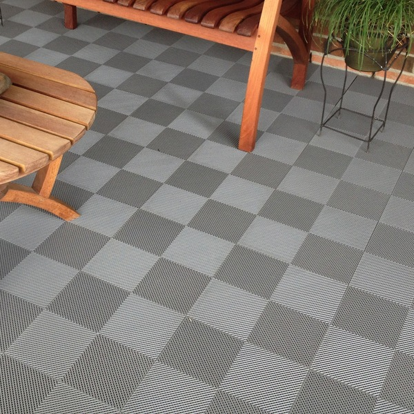 Deck and patio flooring interlocking tiles