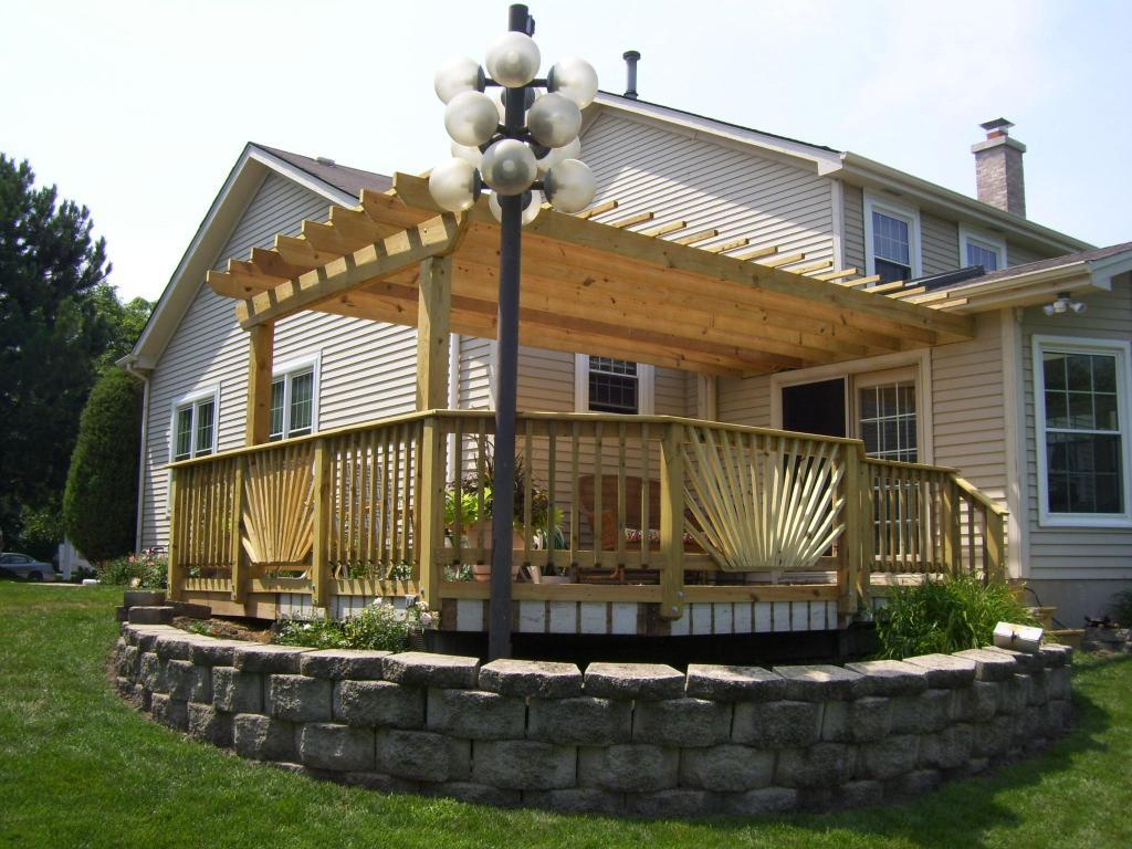 wood deck with pergola deck and pergola designs - Ideas For Deck Designs