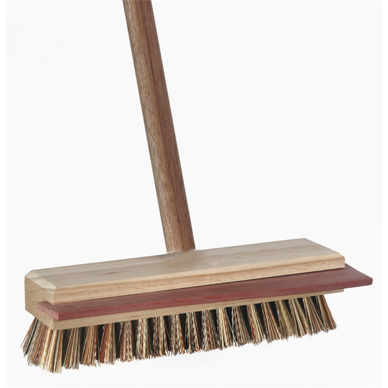 Deck brush with squeegee