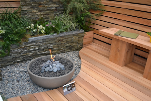 Deck built around fire pit