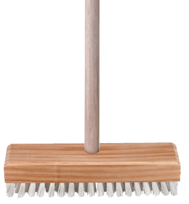 Deck cleaning brush with handle