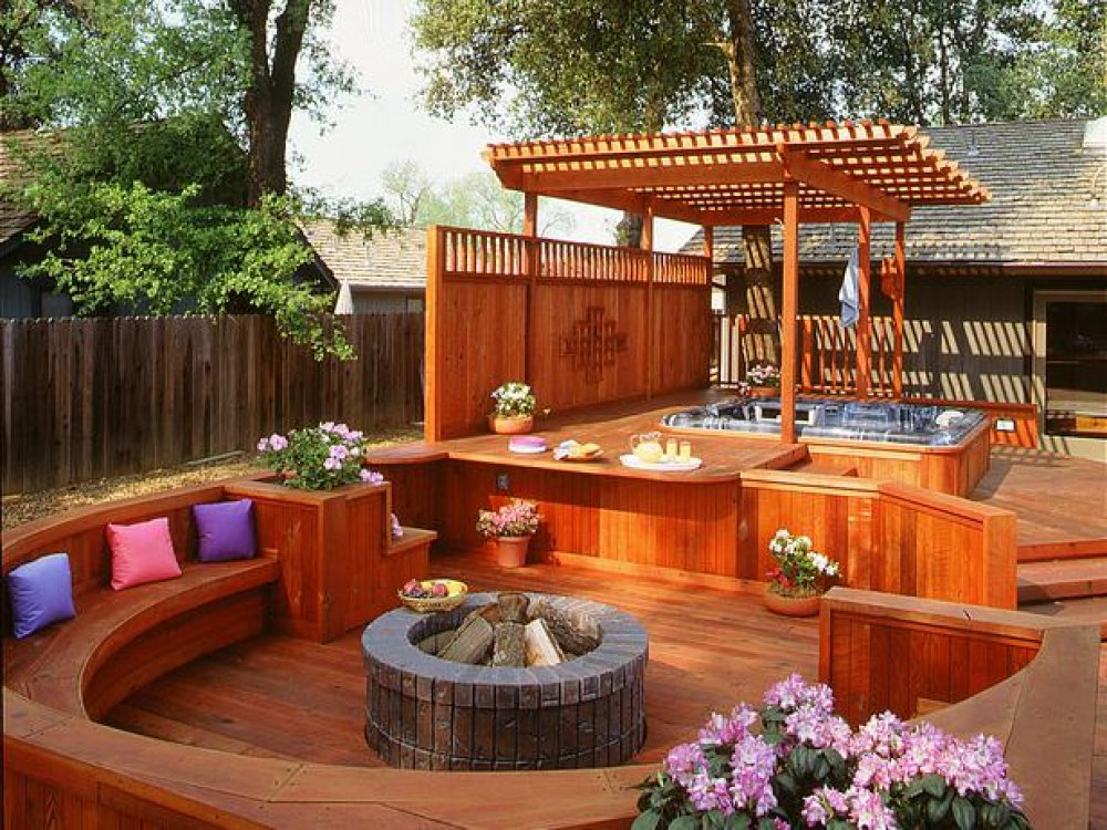 Deck designs hot tubs pictures