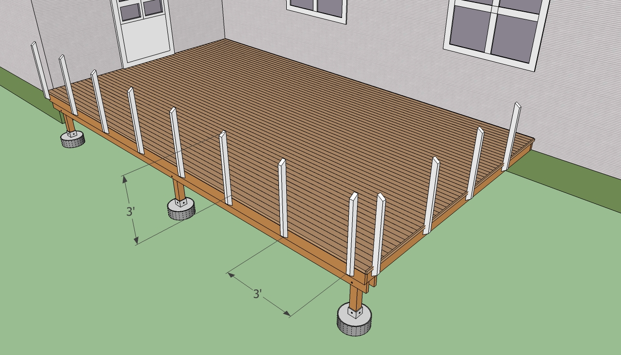 Deck handrail post spacing