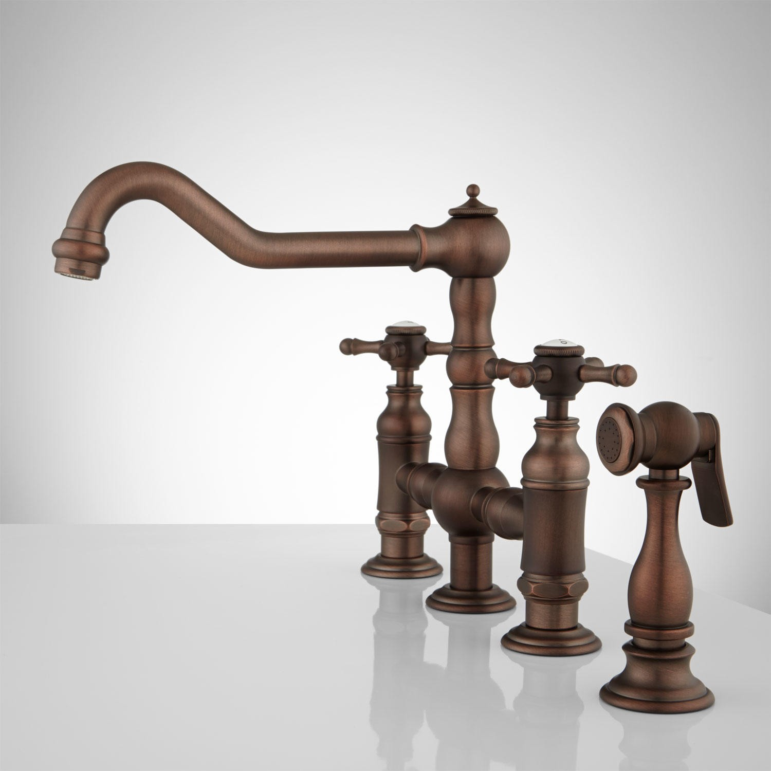 Deck mount bridge kitchen faucet