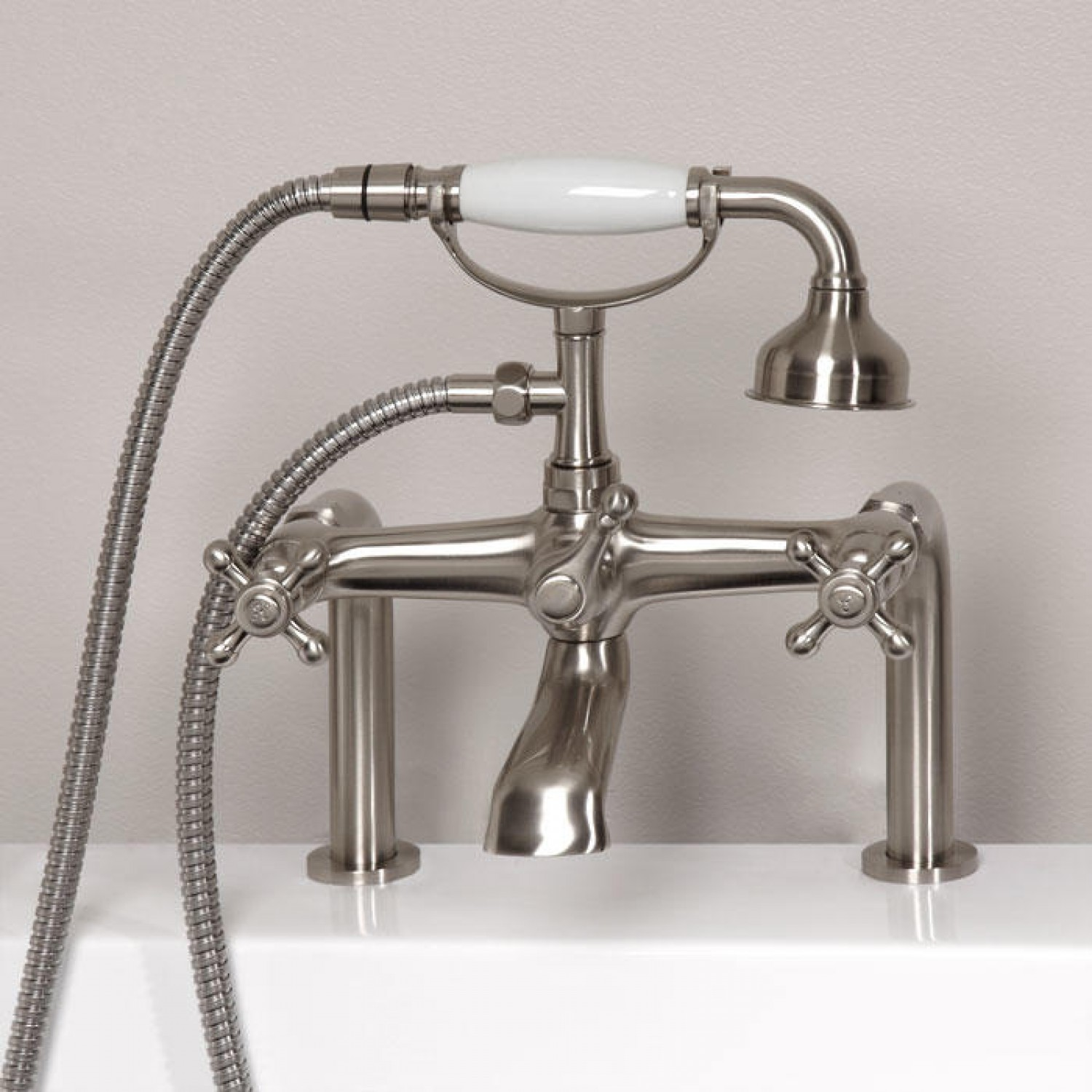 Deck mount tub faucet hand shower