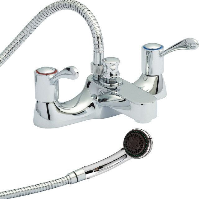 Deck mount tub faucet with handheld shower