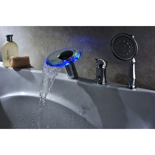 Deck mount tub faucet with sprayer
