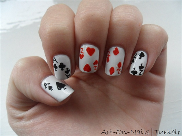 Deck of cards nail art