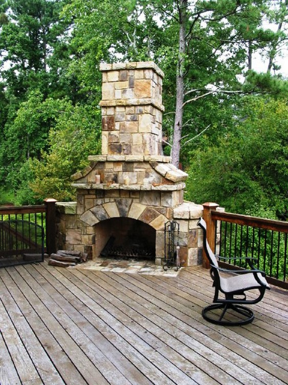 Deck outdoor fireplace