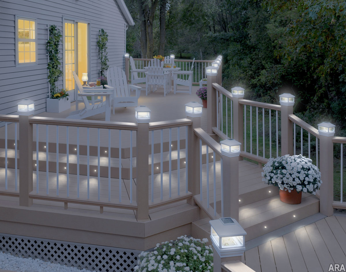 Deck post caps solar lights
