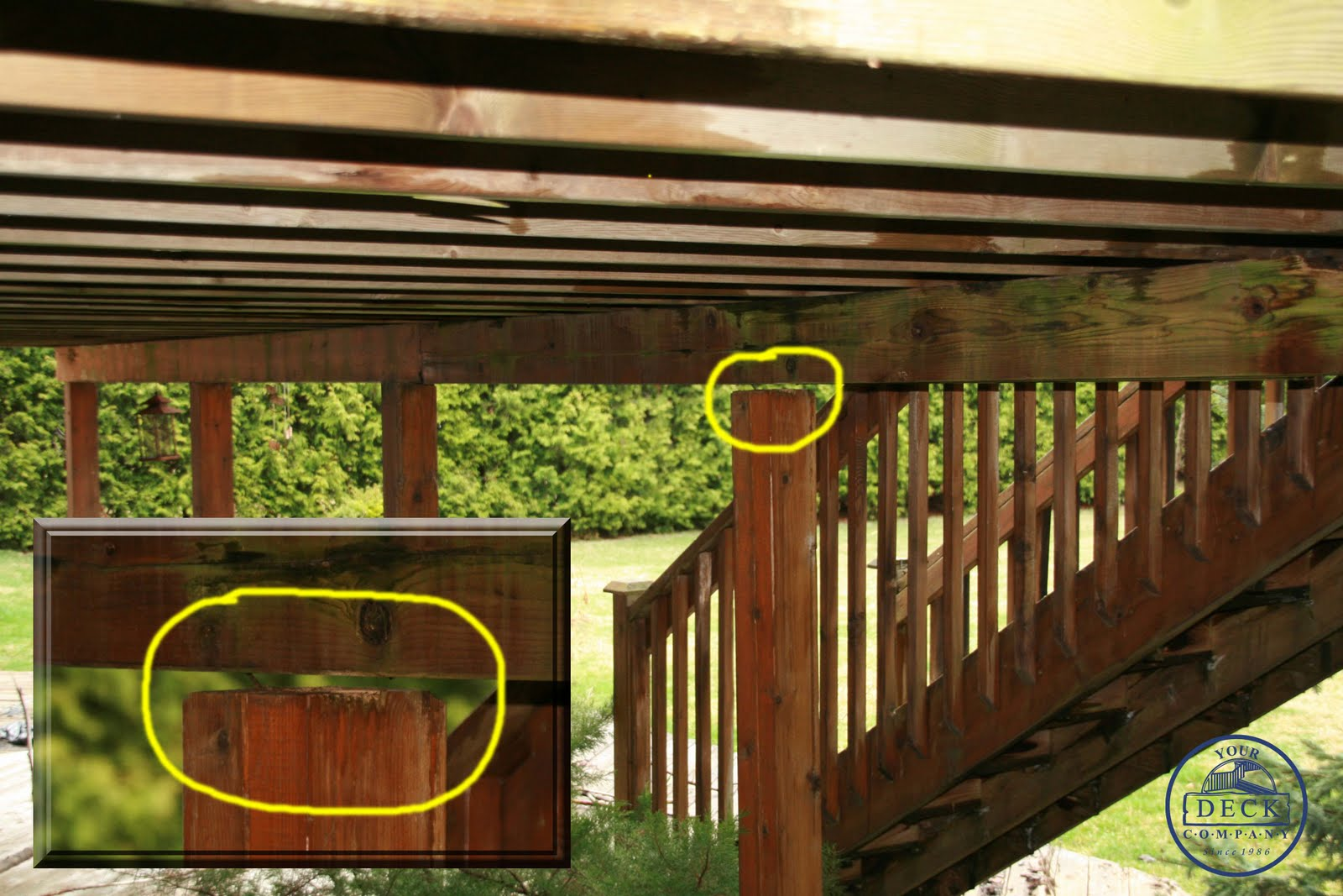 Deck post to beam connection