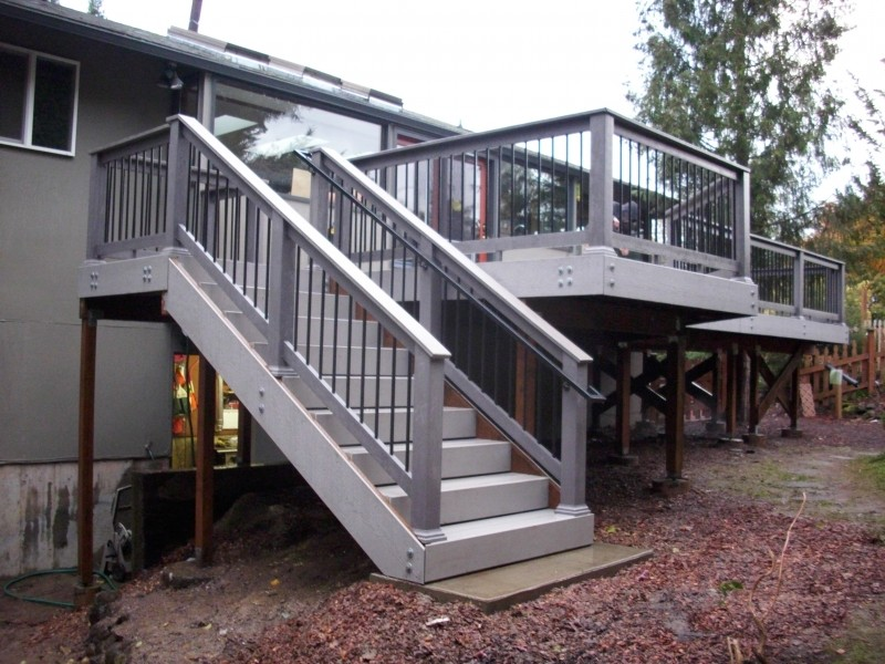 Deck stairs designs corner