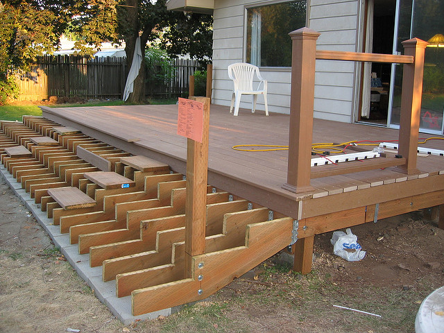 Deck stairs support