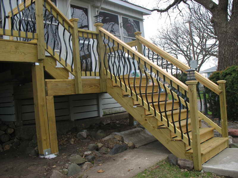Deck steps and railings