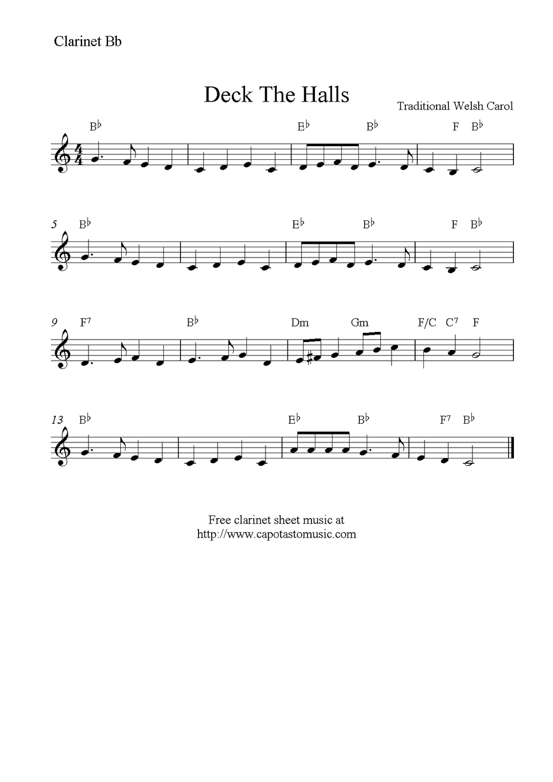 Deck the halls on clarinet sheet music