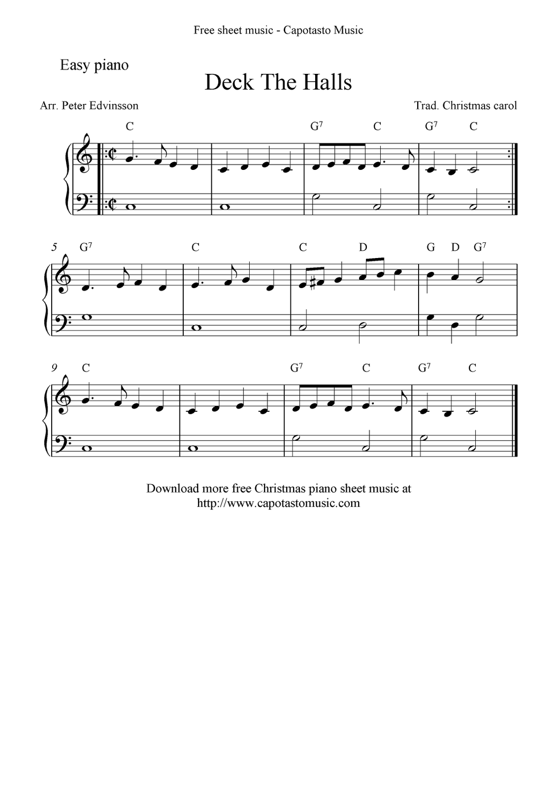 Deck the halls piano sheet music letters