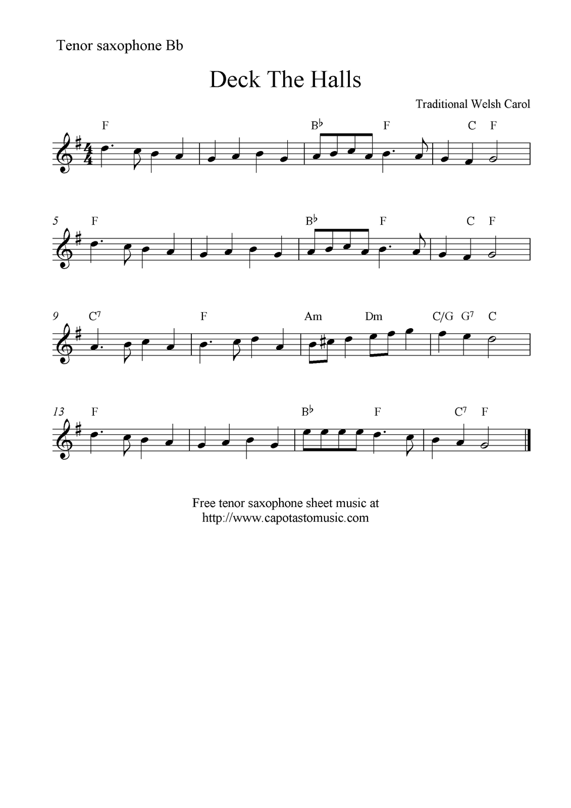 Deck the halls sheet music for alto saxophone