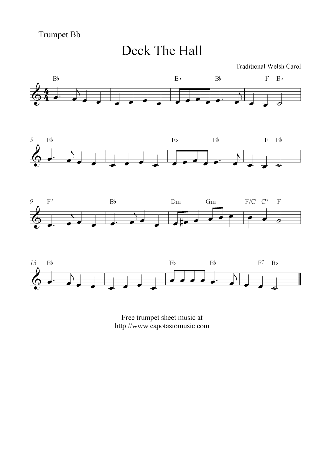 Deck the halls sheet music for trumpet