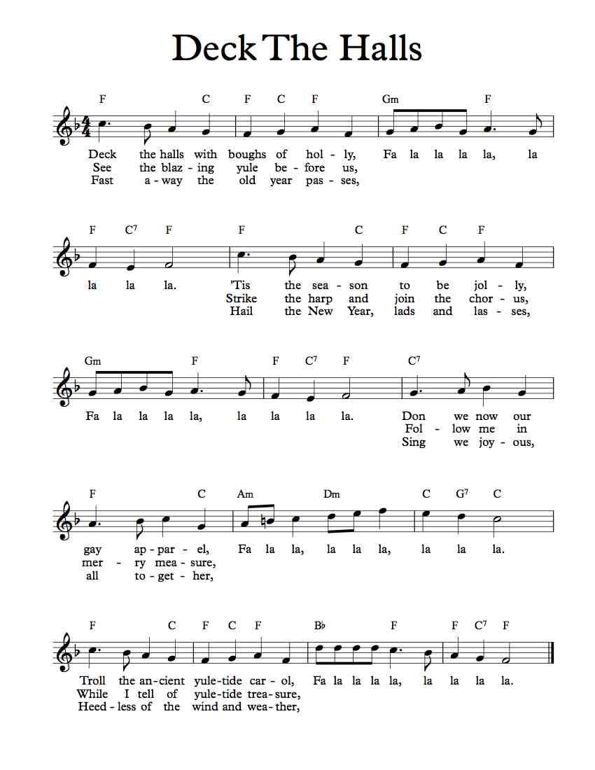 Deck the halls violin sheet music free