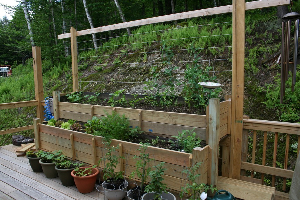 Deck vegetable garden design