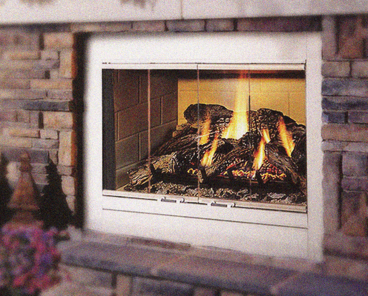 Deck wood burning fireplace