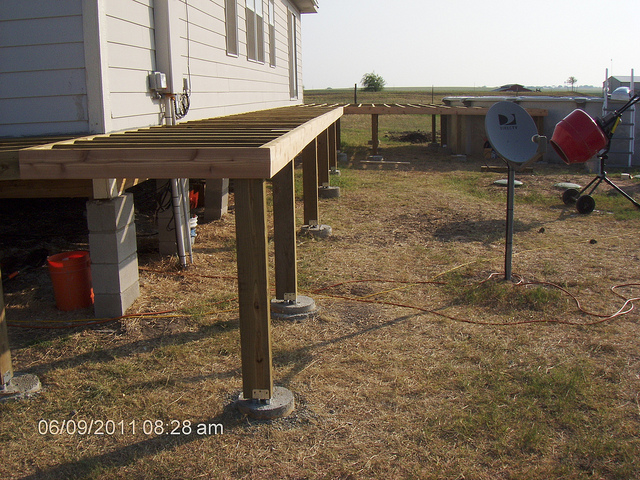 Elevated deck framing
