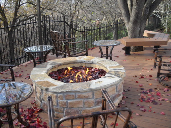 Fire pit on timber deck