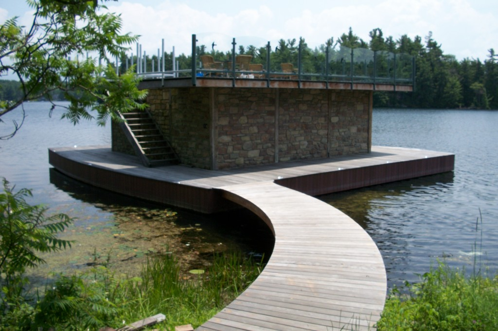 Floating deck with a roof