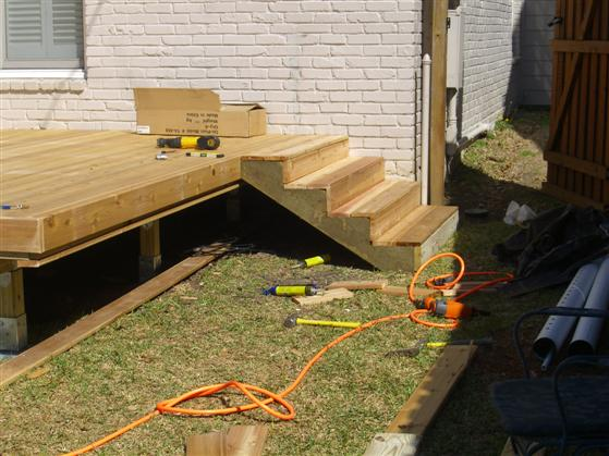 Foundation for deck stairs