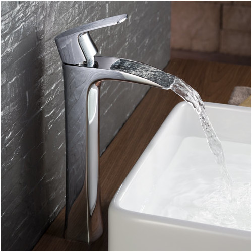 Fresca fortore single handle deck mount vessel faucet