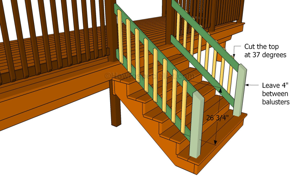 How to build deck handrail for stairs