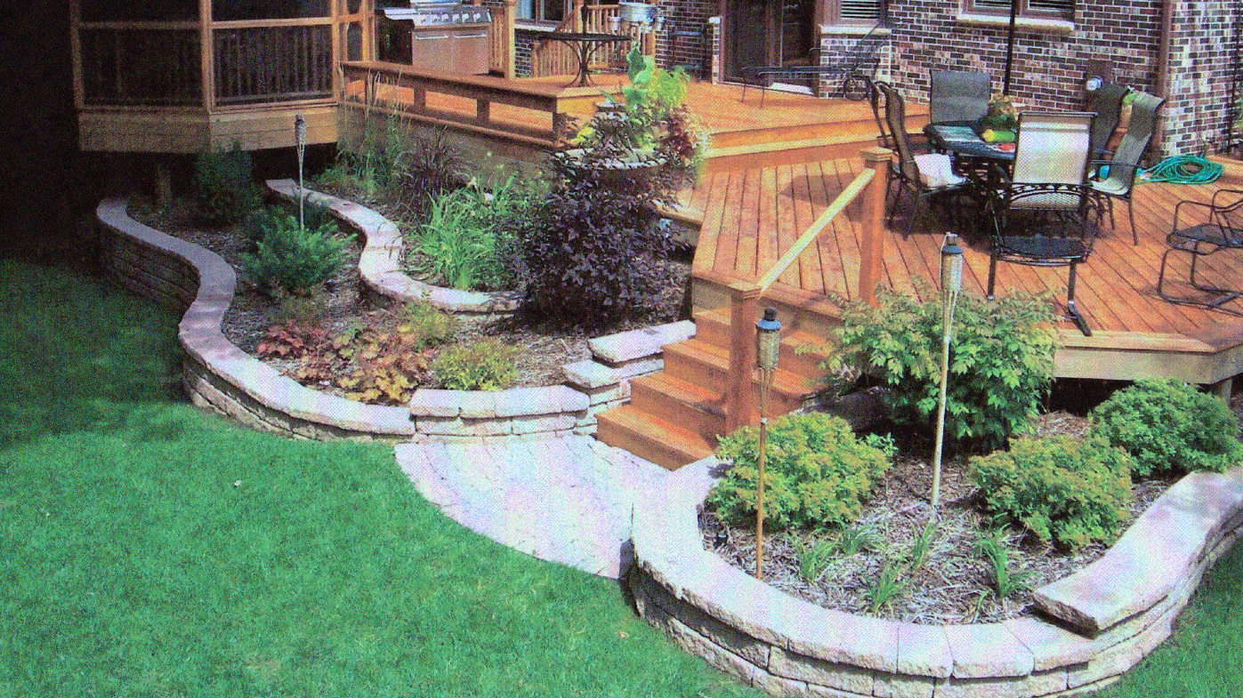 Landscaping around a deck pictures