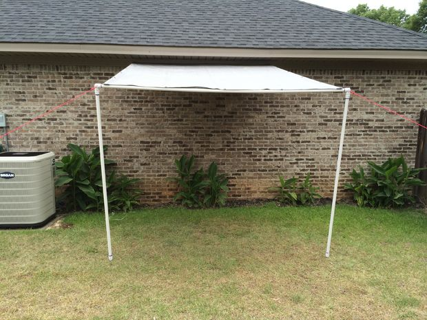 Outdoor canopy attached to house