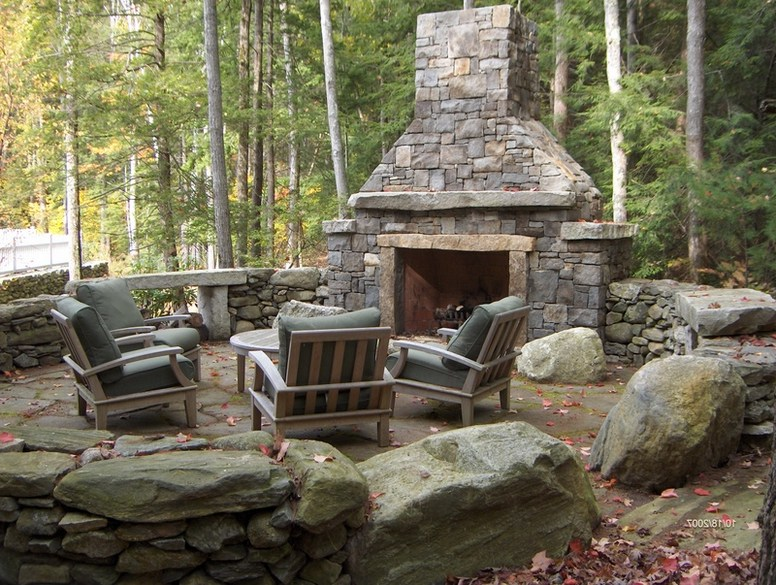Outdoor deck fireplace designs