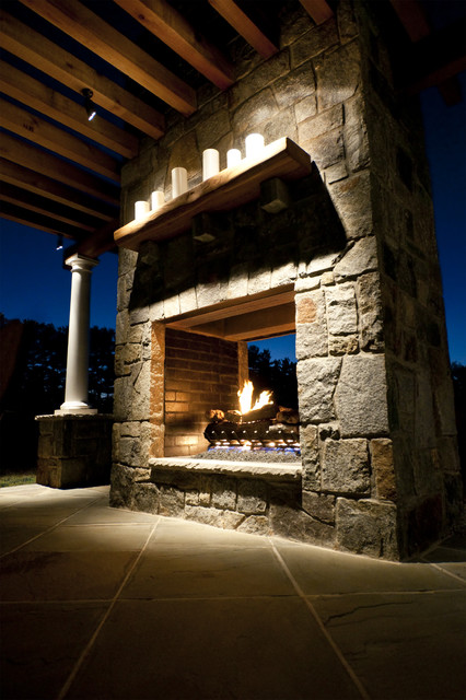 Outdoor open fireplace