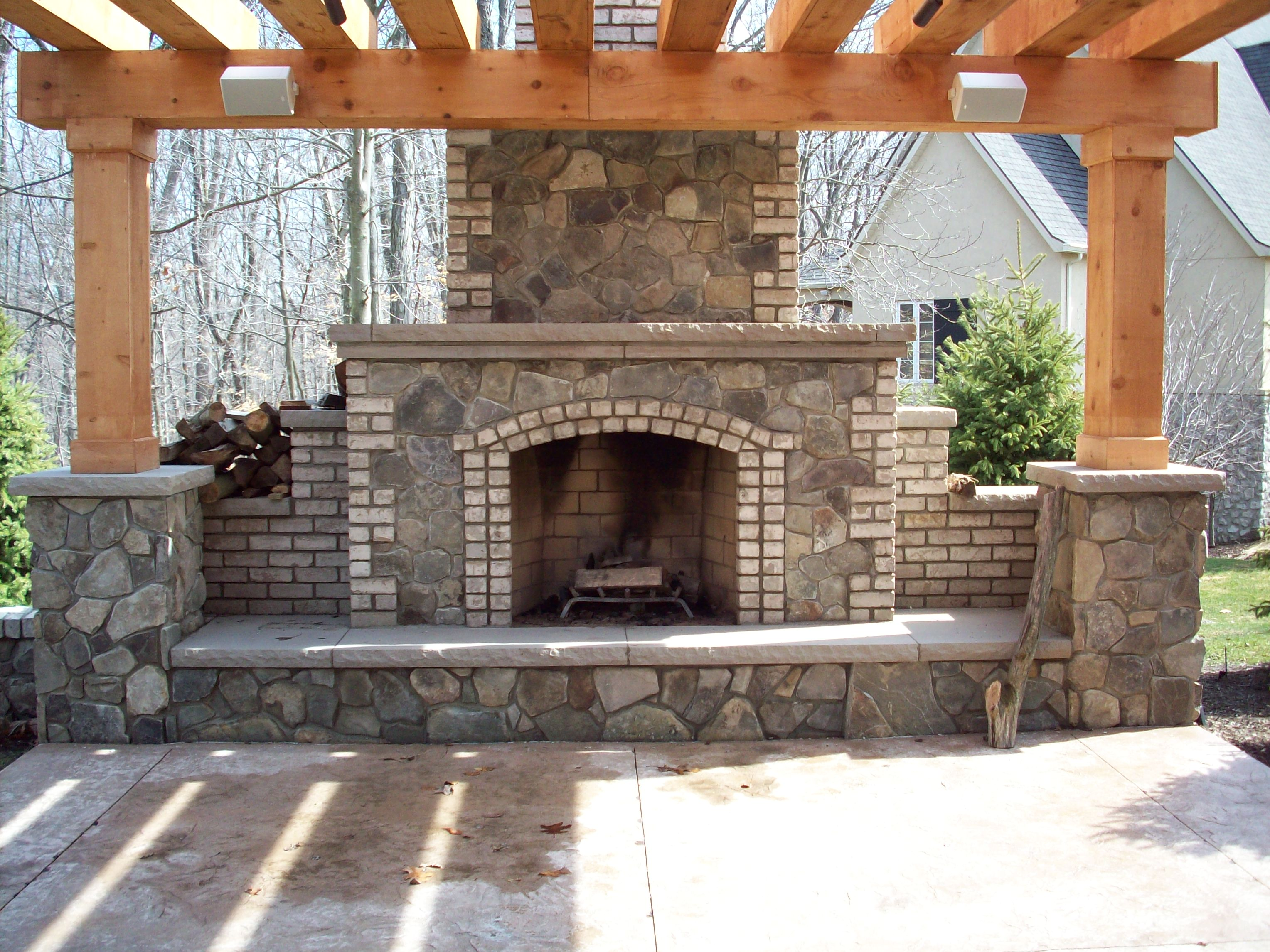 Outside brick fireplace designs