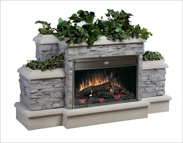 Outside electric fireplace