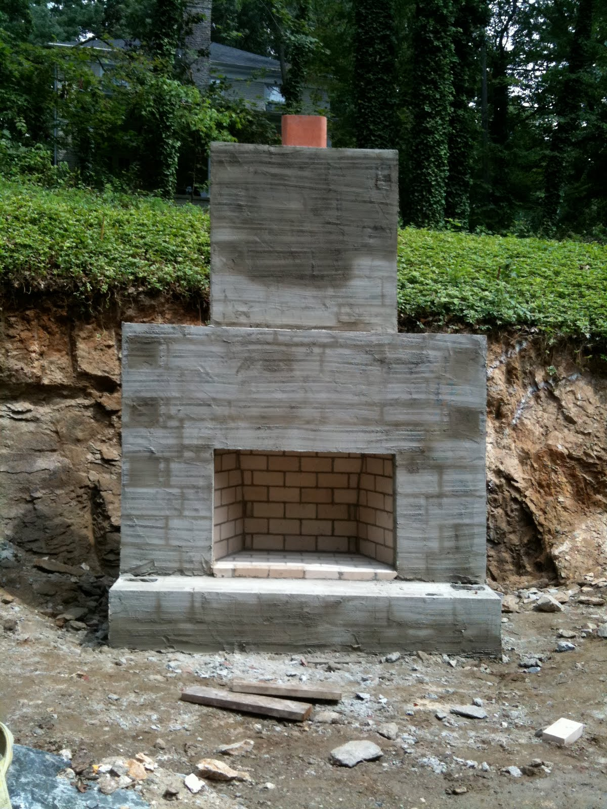 Outside fireplace construction