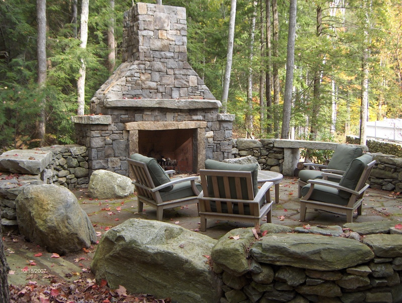 Outside fireplace designs pictures