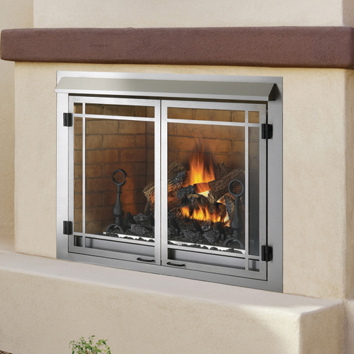 Outside gas fireplace insert