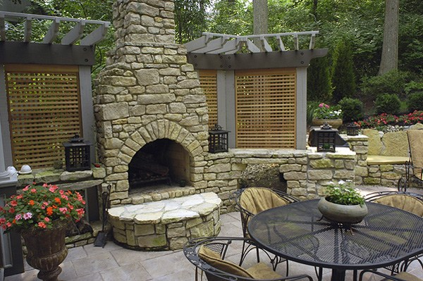 Outside rock fireplace designs