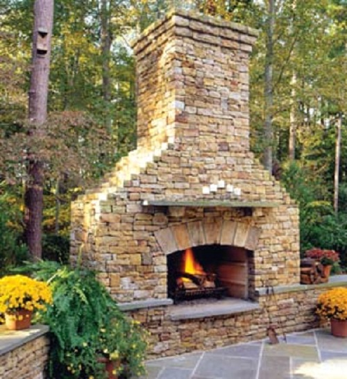 Outside stone fireplace designs