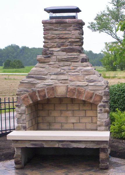 Outside stone fireplace kits