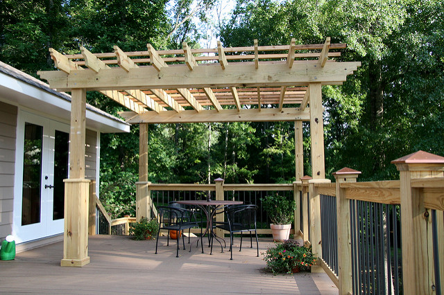 Pergola with deck on top