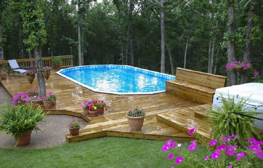Pool deck landscaping pictures