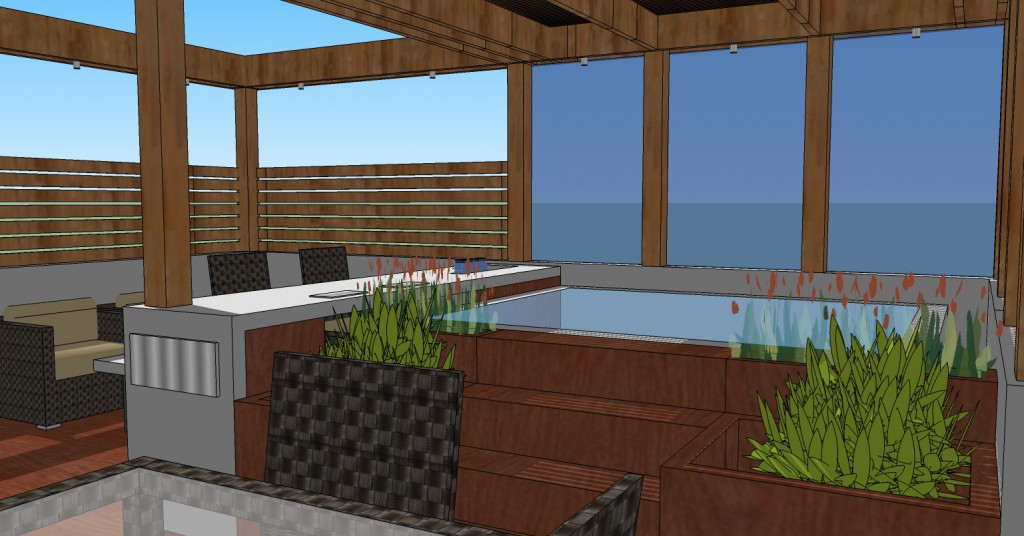 Roof deck hot tub