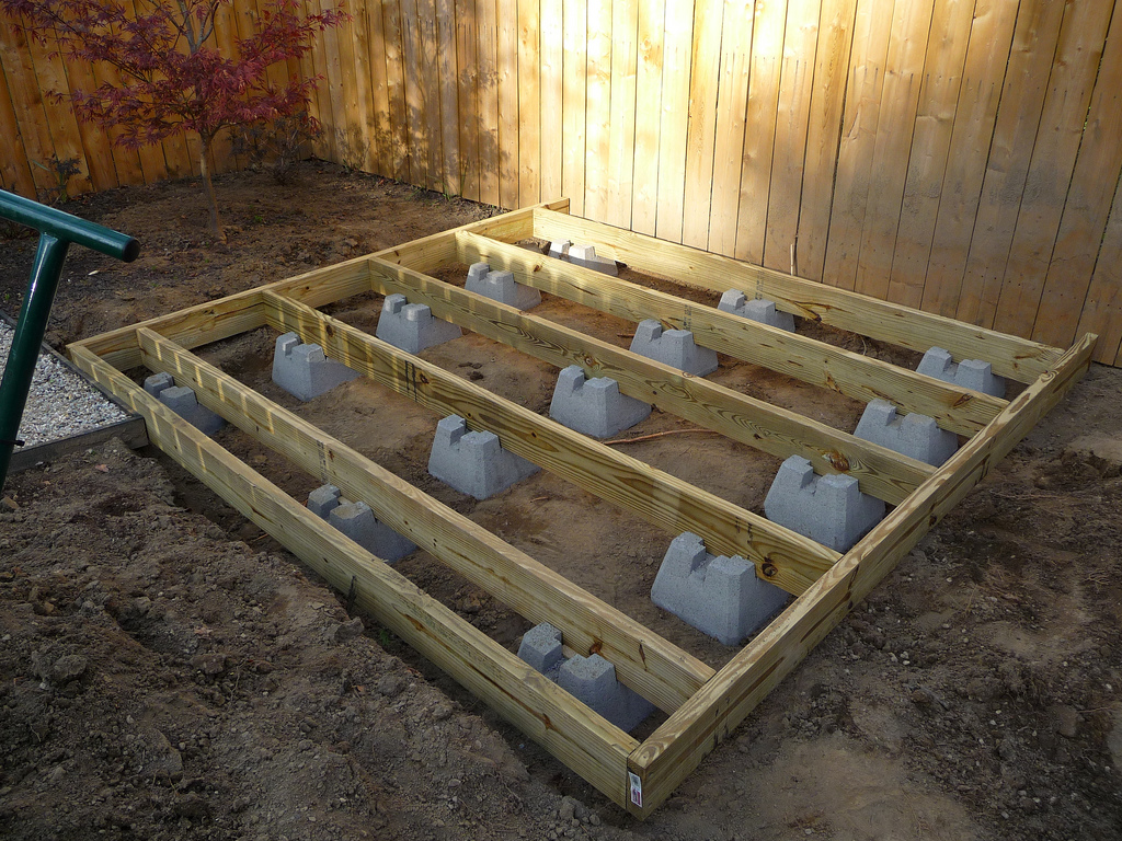 Shed foundation deck blocks