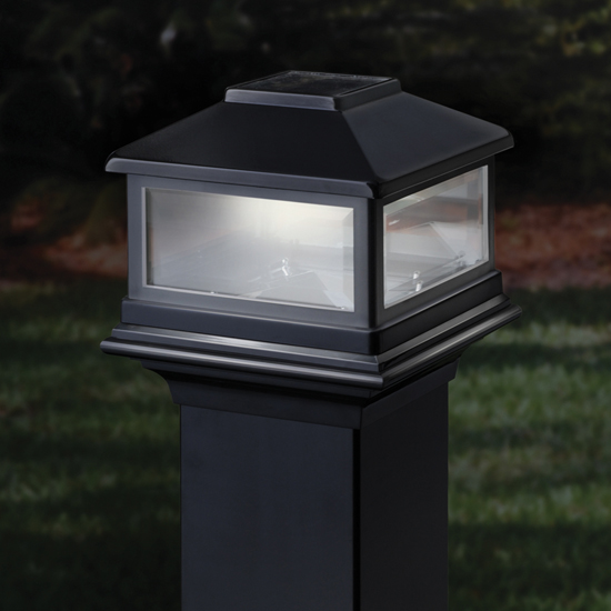 Solar deck post cap lights home depot