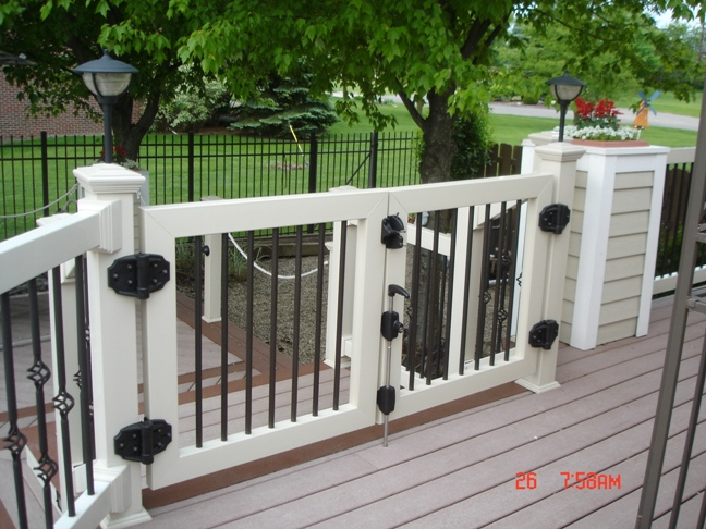 Pool Deck Gate Ideas oval above ground pool decks latching locakble gate for above ground Pvc Deck Railing Gate Veranda Deck Gate