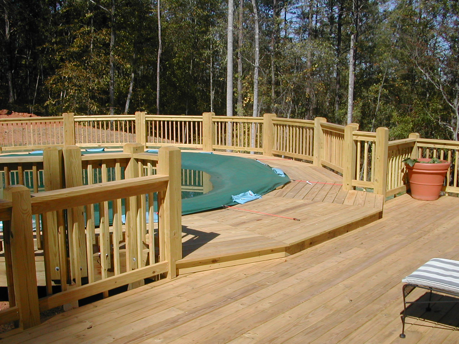 Wood deck for pool